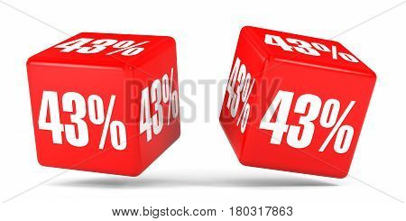 Forty Three Percent Off. Discount 43 %. Red Cubes.