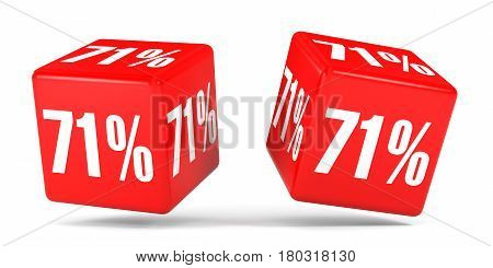 Seventy One Percent Off. Discount 71 %. Red Cubes.
