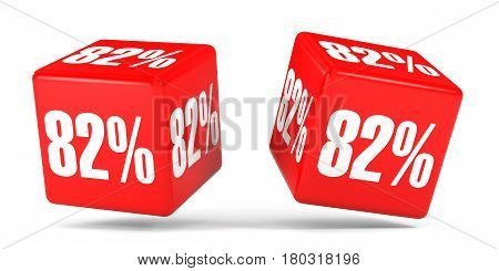 Eighty Two Percent Off. Discount 82 %. Red Cubes.