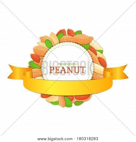 Round white frame composed of peanut nut and gold ribbon. Vector card illustration. Circle nuts frame, groundnut fruit in the shell, whole, shelled, leaves appetizing looking for packaging design of healthy food.