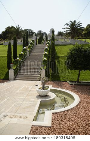 Bahai public gardens and temple on the slopes of the Carmel Mountain in Haifa Israel