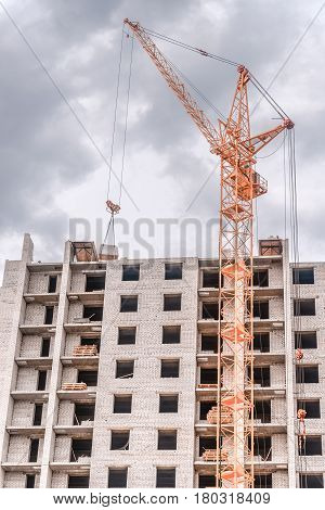 Building-industry and high-rise crane/Building multi-storey houses and tall cranes