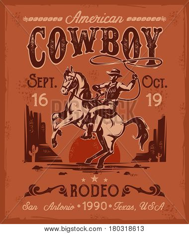 illustration rodeo poster with a cowboy sitting on a rearing horse in retro style