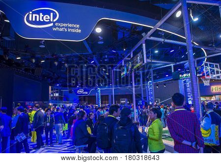 LAS VEGAS - JAN 08 : The Intel booth at the CES show in Las Vegas on January 08 2017 CES is the world's leading consumer-electronics show.
