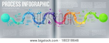 Colorful double page a4 spread template business concept timeline arrows. Infographics layout with 15 steps, workflow history with diagram, presentation and graph