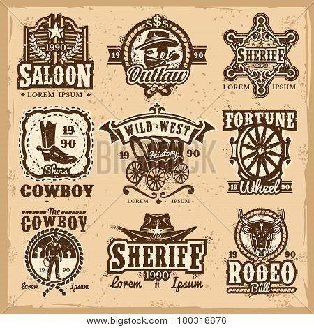 Set of wild west logos, badges with cowboy and attributes of the wild west isolated on white