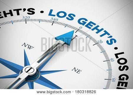 German slogan Los geht's (let's go) on compass as motivation (3D Rendering)