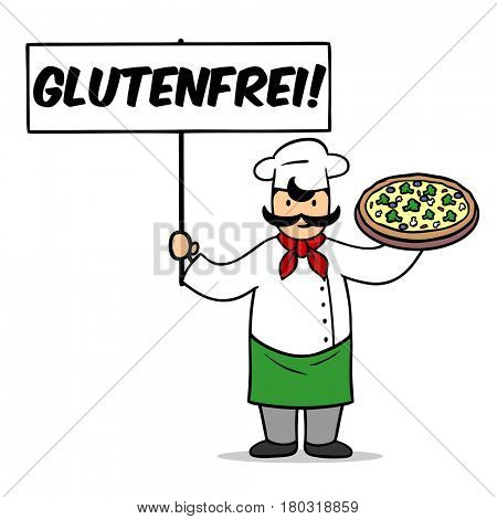 Gluten-free pizza delivery concept as cartoon with chef holding German sign