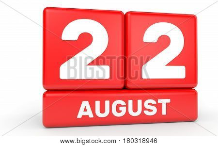 August 22. Calendar On White Background.