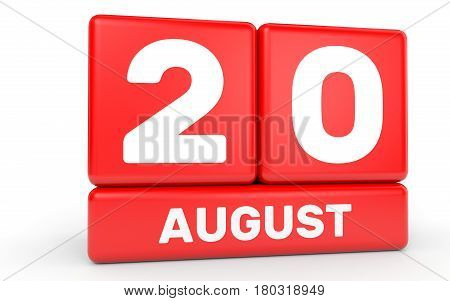 August 20. Calendar On White Background.