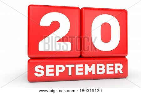 September 20. Calendar On White Background.