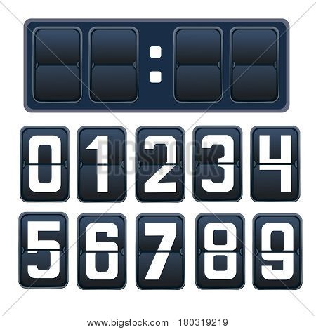 illustration of a countdown timer, a mechanical scoreboard blank and various numerals in white