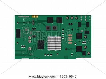 Electric circuit board with various chips and electronic components. Vector illustration in flat style