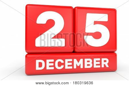 December 25. Calendar On White Background.