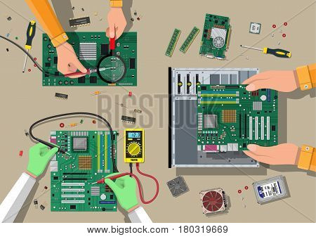 Components for personal computer. Service, recovery, warranty, fixing. Assembling PC. Computer hardware. Vector illustration in flat style
