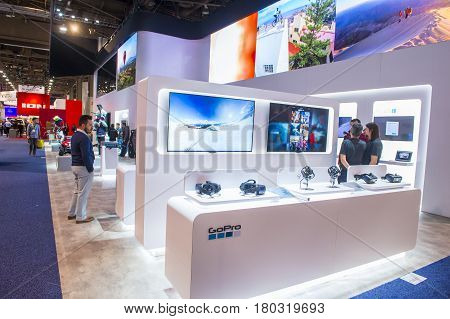 LAS VEGAS - JAN 08 : The GoPro booth at the CES show held in Las Vegas on January 08 2016 CES is the world's leading consumer-electronics show.