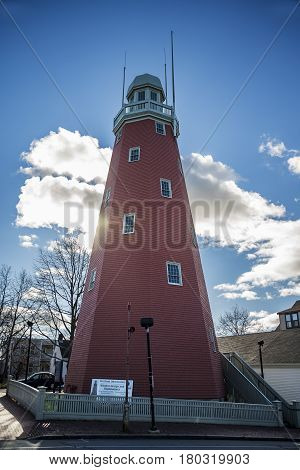 Old Portland Observatory as landmark in the main city of Maine USA