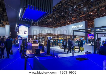 LAS VEGAS - JAN 08 : The Samsung booth at the CES show held in Las Vegas on January 08 2017 CES is the world's leading consumer-electronics show.