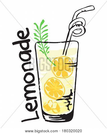Lemonade fruit label and sticker - Fresh Lemonade. Vector illustration in watercolor style for graphic and web design