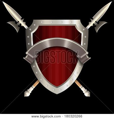 Medieval red shield with chrome riveted border two spears and silver ribbon on black background.