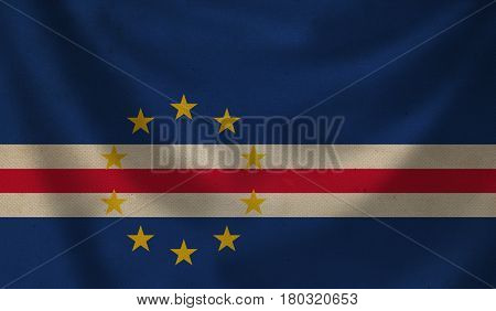 Vintage background with flag of Cape Verde. Grunge style.