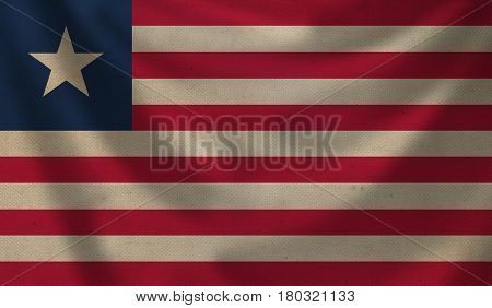 Vintage background with flag of Liberia. Grunge style.