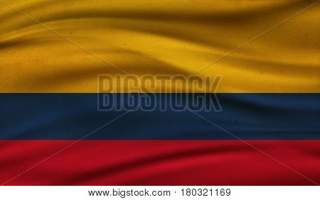 Vintage background with flag of Colombia. Grunge style.