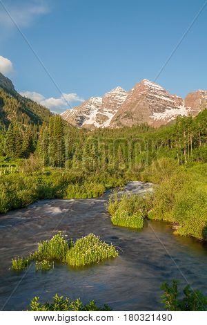 a scenic summer landscape at he maroon bells Aspen Colorado