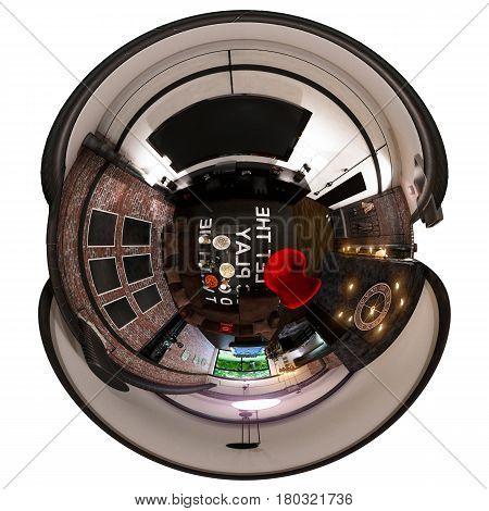 3d illustration spherical 360 degrees, seamless panorama of interior design in loft style. Tiny little world