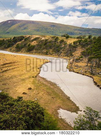 The turn of a river in tierra del fuego national park
