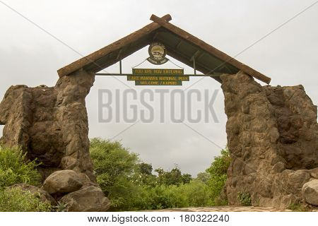 Lake Manyara National Park Tanzania - March 6 2017 : Entrance sign to Lake Manyara National Park Tanzania Africa.