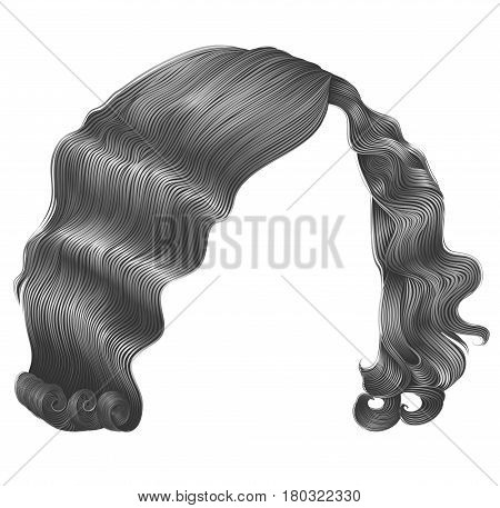 trendy woman hairs  kare gray color . beauty fashion . retro style curls . realistic 3d .