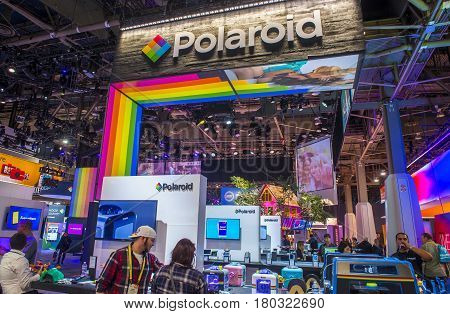 LAS VEGAS - JAN 08 : The Polaroid booth at the CES show held in Las Vegas on January 08 2017 CES is the world's leading consumer-electronics show.