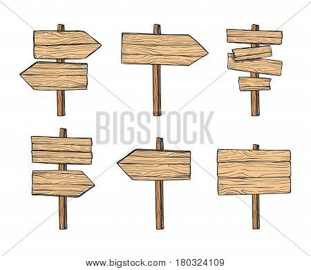 Hand Drawn Vector Illustrations. Wooden Signposts And Sign Boards. Wood Arrows And Planks. Perfect F