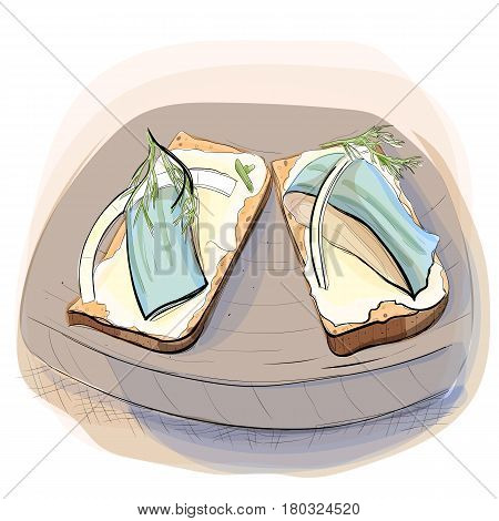 Color illustration of bread with butter and salted herring