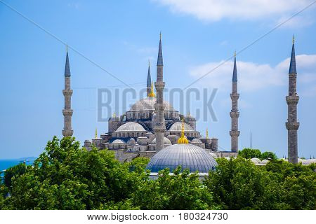 Blue mosque or Sultanahmet Mosque in Istanbul Turkey rom above with blue sky in summer