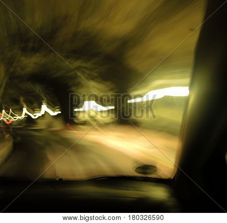 Motion blur from car driving in the tunnel