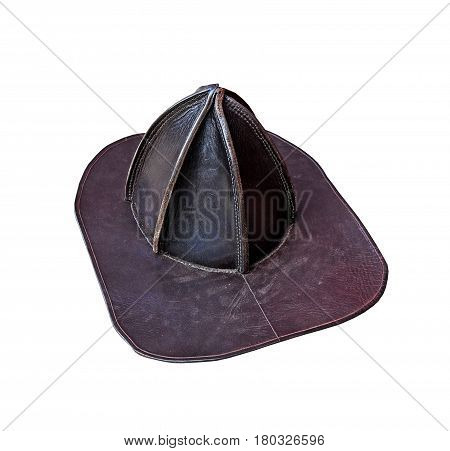 Old leather Fireman's hat on a white background