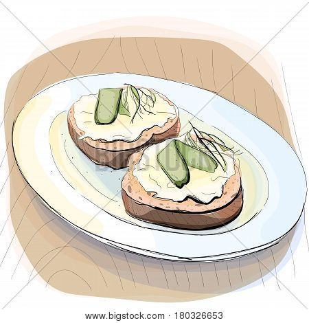 Color illustration of bread with butter and a piece of pickled cucumber on plate