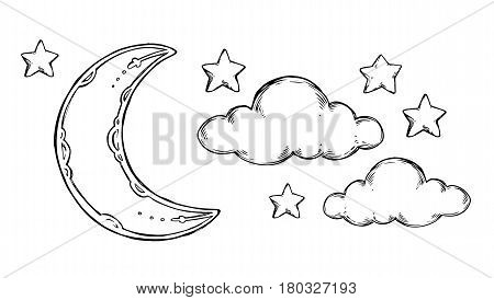 Hand Drawn Vector Elements - Good Night (sleeping Moon, Stars, Clouds). Illustrations In Sketch Styl