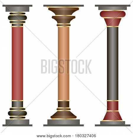 Set of columns in Minoan style. Historic elements of architecture this style is specific for Knossos Palace. Isolated objects vector illustration