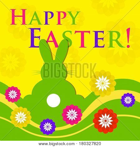 Easter colored greeting card - green rabbit with white tail rear view with flowers waves and text in front of a yellow background