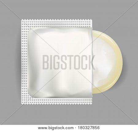 Condom plastic pack illustration. Mock Up for branding. Vector