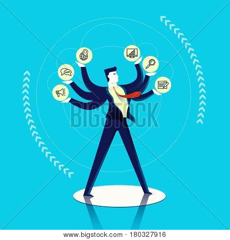 Business Man Multitask Concept Illustration