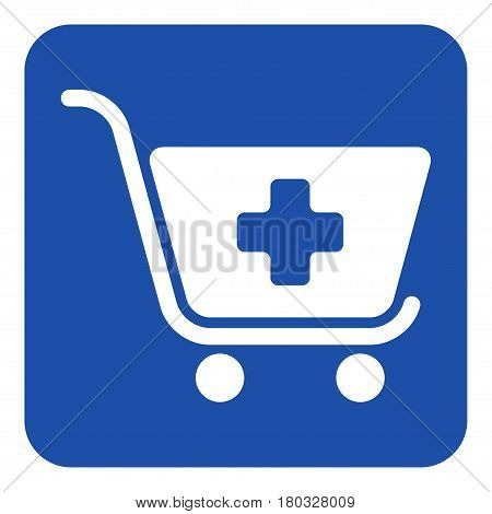 blue rounded square information road sign with white shopping cart plus add icon