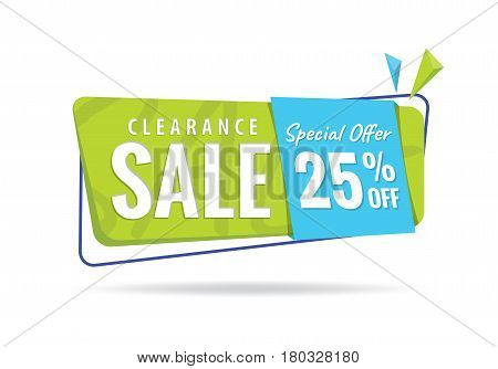Vol. 2 Clearance Sale Green Blue 25 Percent Heading Design For Banner Or Poster. Sale And Discounts