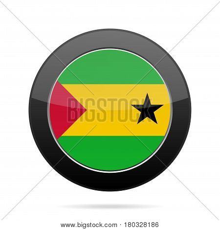 National flag of Sao Tome and Principe. Shiny black round button with shadow.