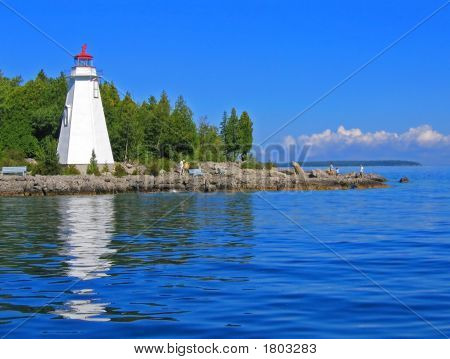 White Lighthouse Reflected