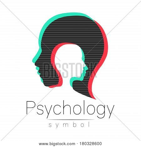 Modern head sign of Psychology. Profile Human. Glitch effect. Symbol in vector. Design concept. Brand company. isolated on white background. Icon for web, print. Look like old tv screen error