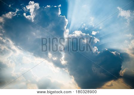 It is three heart shaped clouds on blue sky. The concept of the family